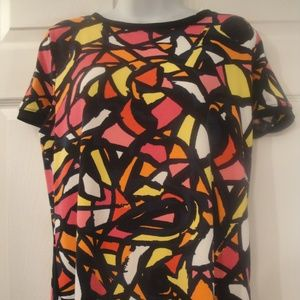 Anne Klein Multicolor Abstract Short sleeve Top